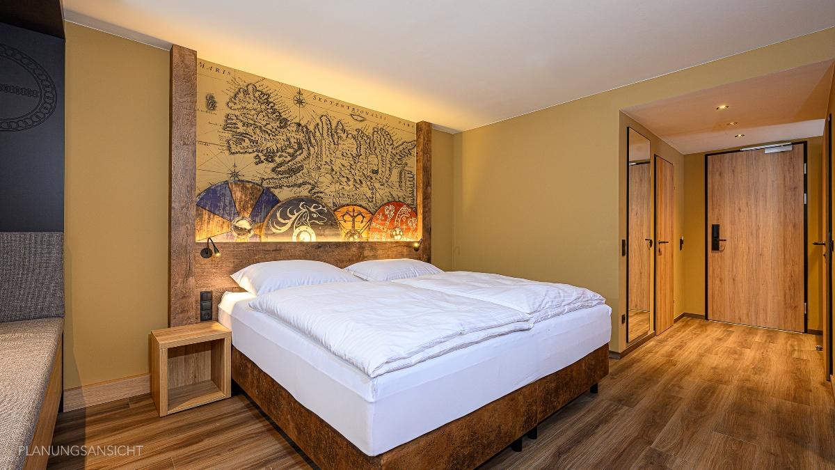 Neue Zimmer im Wikingerstil mit Panoramasitzbank und Balkon