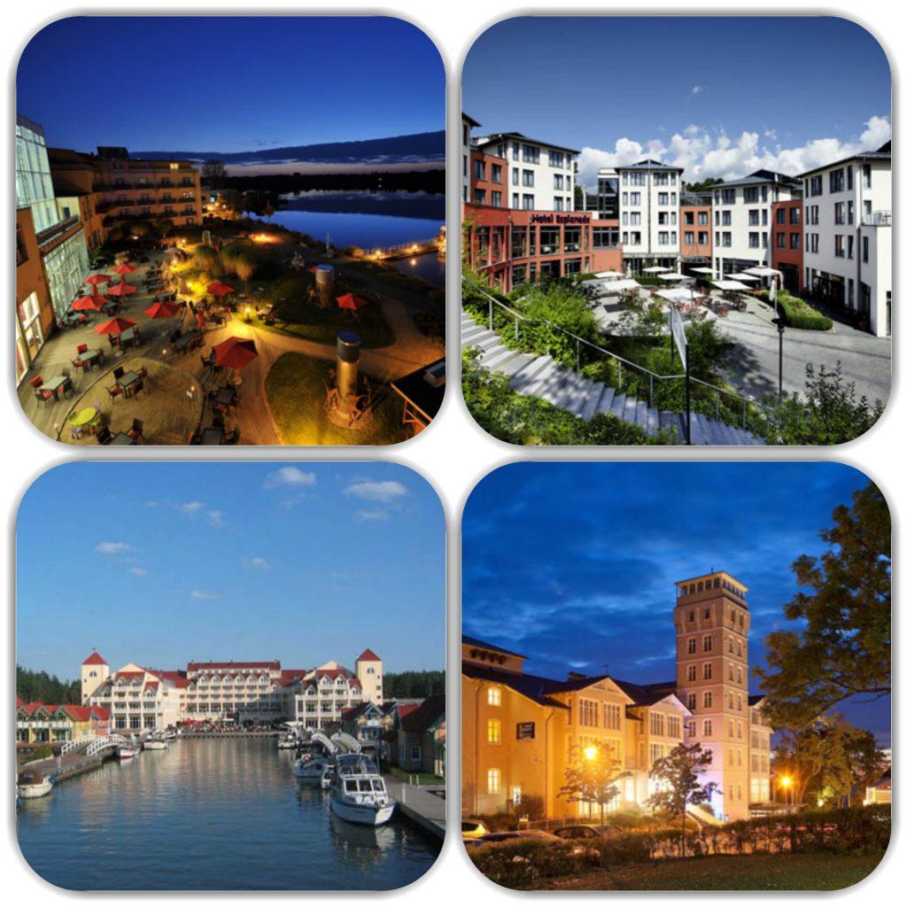 Bildmaterial wurde uns von den Hotels zur Verfügung gestellt (von links nach rechts; von oben nach unten) Resort Mark Brandenburg, Esplanade Resort & Spa, Maritim Hafenhotel Rheinsberg, Hotel Hanseatic Rügen & Villen
