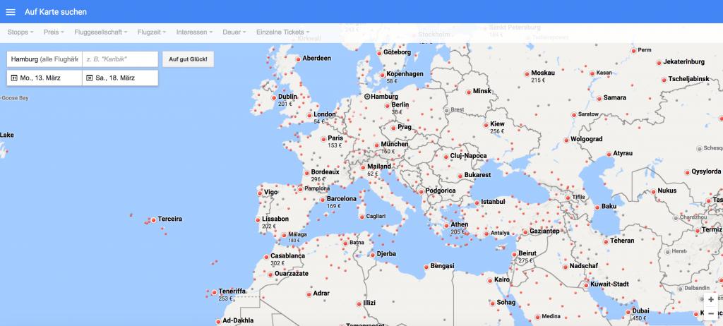 Schnäppchenflüge suchen mit Google Flights