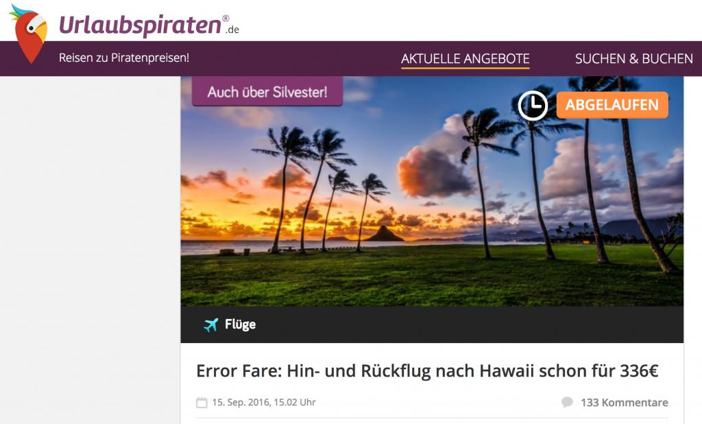 Error Fare: Hin- und Rückflug nach Hawaii