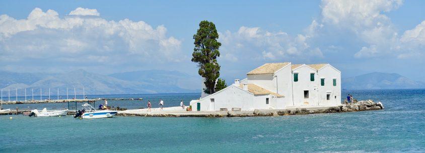 Blick auf die Klosterinsel Korfu