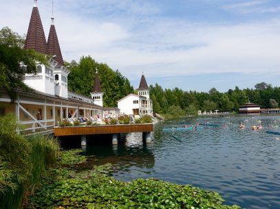 Heilsee Bad Héviz im Sommer mit Seerosen