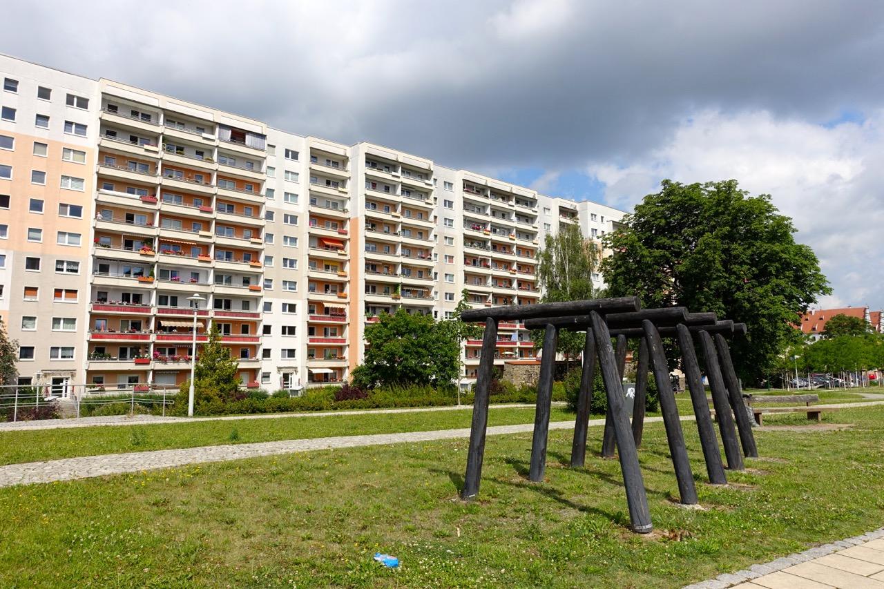 Plattenbau am Rand der Zwickauer Innenstadt