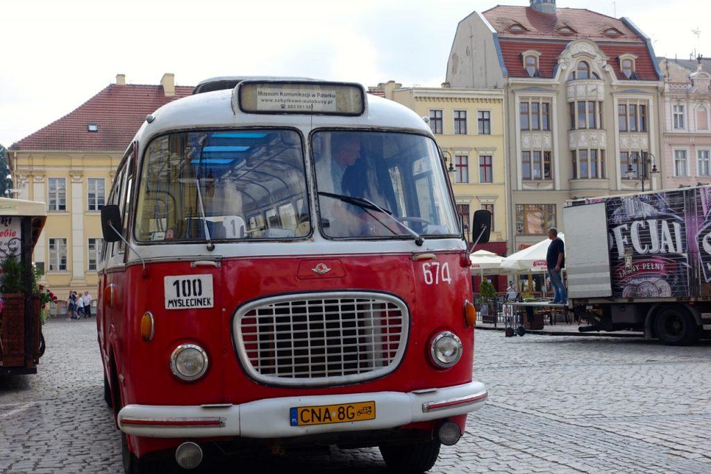 Fahrt mit dem alten Bus durch Bromberg