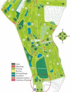 Hier fand unser Golf-Schnuppertraining statt (roter Kreis: hier haben wir uns überwiegend aufgehalten)
