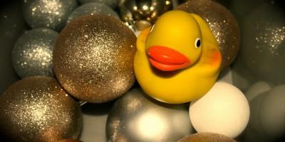 Ente zwischen Weihnachtskugeln