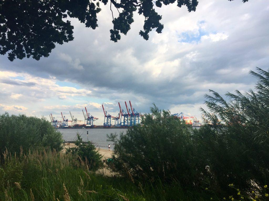 Blick auf den Hafen vom Elbstrand