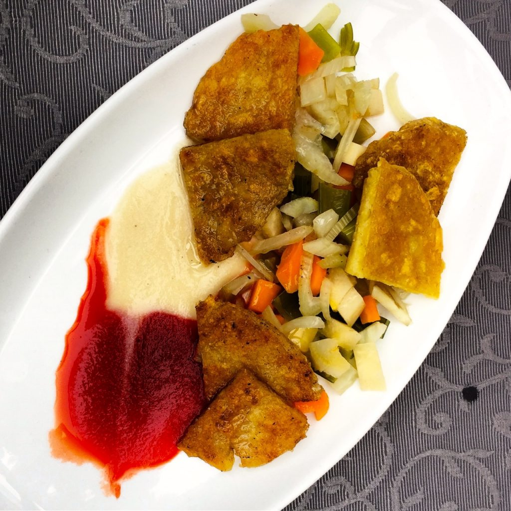 Mittag: Gemüse mit Kartoffelrösti