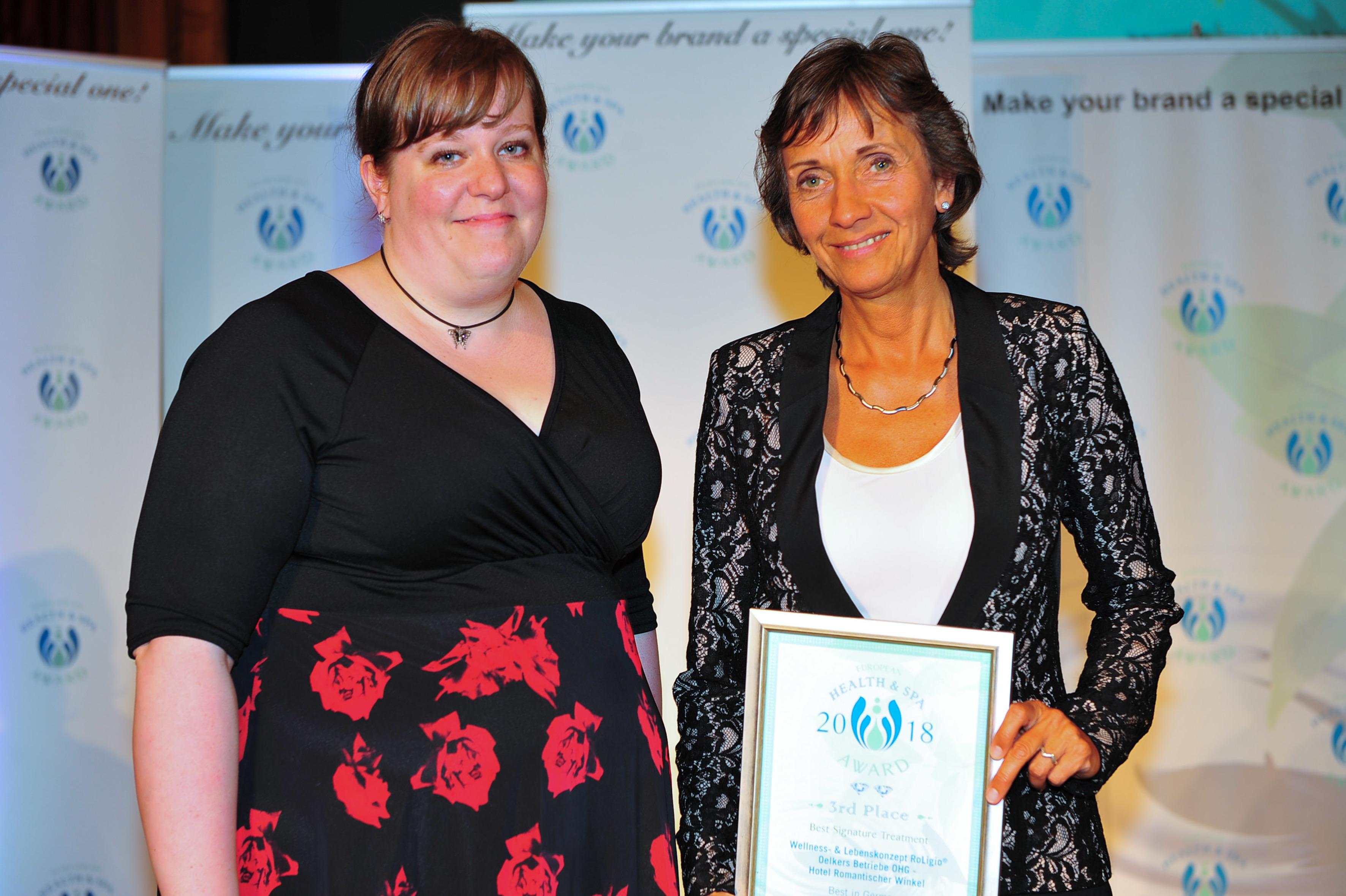 Romantischer Winkel Spa & Wellness Resort gewinnt Health & Spa Award